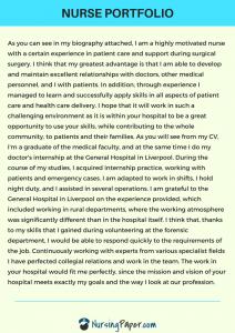nursing portfolio examples uk
